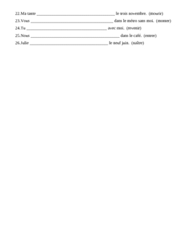 Passe Compose Avec Etre French Verbs Worksheet 2 By Jer520