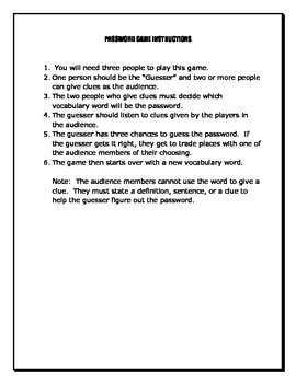 Password Game Instructions