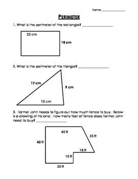 Perimeter Worksheet Homework By Erin Brown