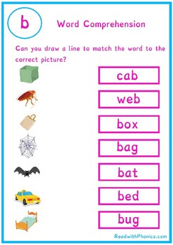 Phonics Picture And Cvc Word Matching