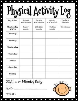 Physical Activity Log by Amanda Montana | Teachers Pay ...