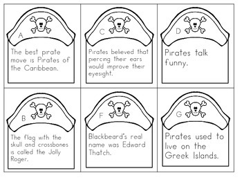 Pirate Fact And Opinion File Folder Game Or Worksheet