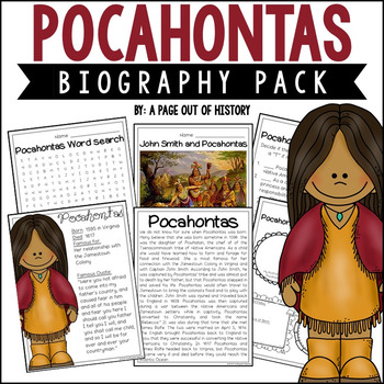 Pocahontas Biography Pack Women S History By A Page Out