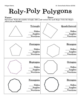 Polygon Cards And Worksheet By Donna Watson