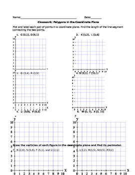 Polygons In The Coordinate Plane Worksheet By Canesgal