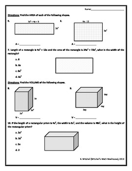Polynomials Perimeter Area And Volume By Mitchell S