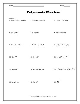 Simplifying Polynomials Unit Review Worksheet By Algebra