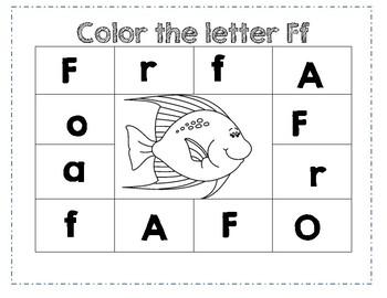 Prek Letter F Color Worksheet