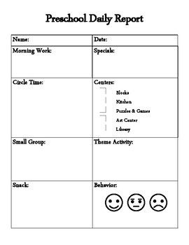 Preschool Daily Report Worksheets Teaching Resources Tpt