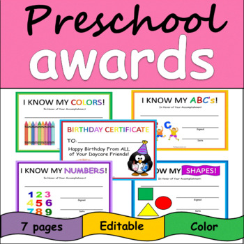 Preschool Daycare Awards Shapes Numbers Abc S Colors Birthday Certificate