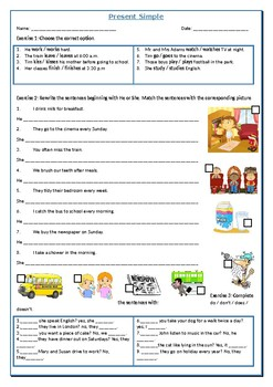 Present Simple Worksheet By Reading Comprehension Texts