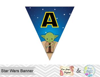 Printable Star Wars Banner Star Wars Birthday Party Banner Star Wars Bunting