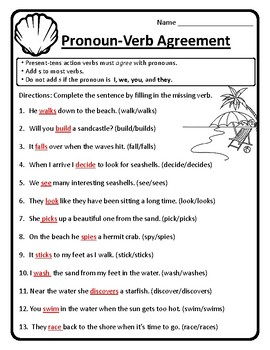 Pronoun Verb Agreement Worksheet Pronoun Verb Agreement