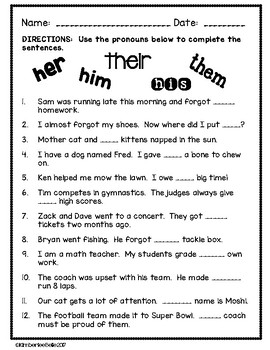 Pronoun Worksheet By Kimberleebelle