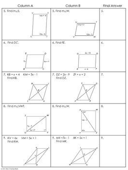 Parallelograms Partner Worksheet By Mrs E Teaches Math