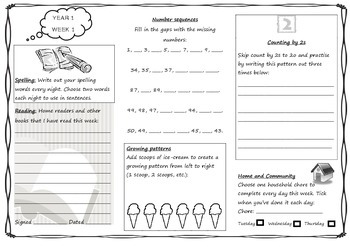 Queensland Year 1 Homework Set For Unit 1 English And
