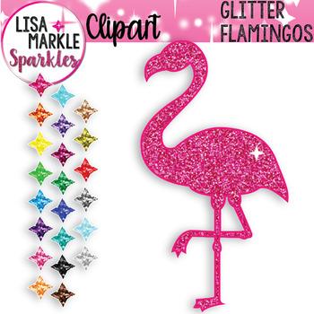 Rainbow Glitter Flamingo Clipart TpT