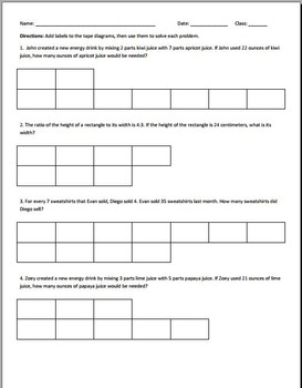 Ratio Tape Diagram Worksheets by Michael Silvestri | TpT
