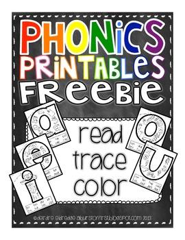 Phonics Printables Read Trace Amp Color Short Vowels