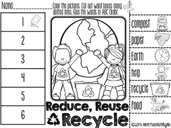 Reduce Reuse Recycle Abc Order Cut And Paste Printable Freebie