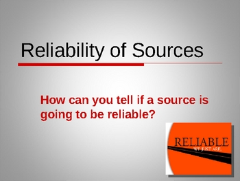 Reliable Sources Powerpoint By Beverly Brown Teachers Pay Teachers