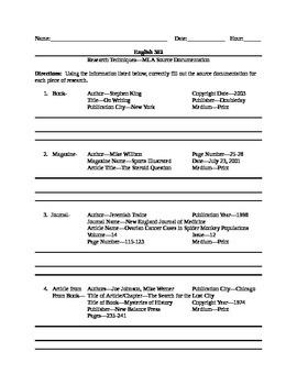 Research Paper Creating Mla Source Citations Worksheet