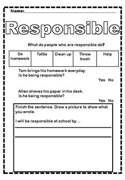Responsible Character Worksheet By Wonderfulworksheets123