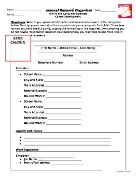 Resume Writing Template Worksheet By Elena Teixeira Gaeta
