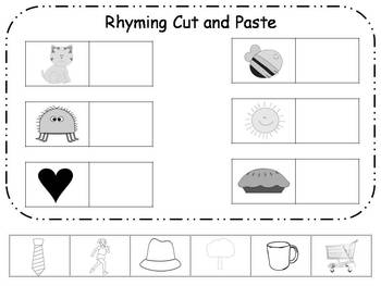Rhyme Cut And Paste Worksheets Teaching Resources Tpt
