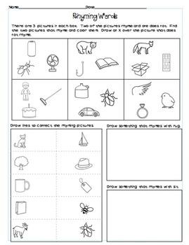Rhyming Worksheets By Brandi Fletcher