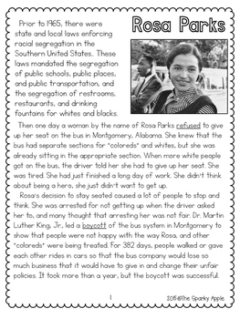 Rosa Parks Close Read Worksheets Teaching Resources Tpt