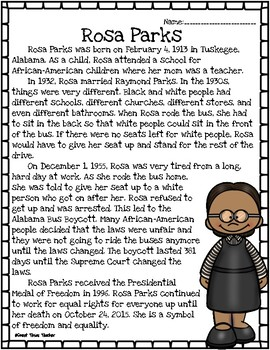 Rosa Parks Reading Passage And Questions