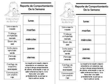 SPANISH Behavior Management Charts And Parent Reports By Alma Almazan