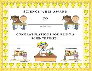 Science Whiz Award Certificate Kids Will Love It