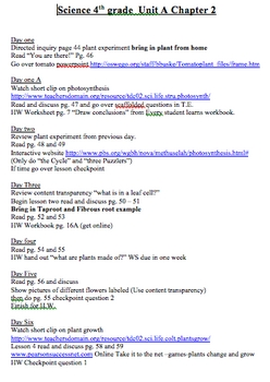 Scott Foresman Science Unit Plans Chapter Two 4th Grade
