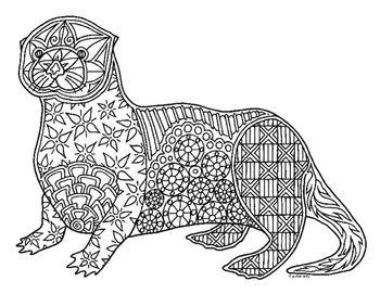 Sea Otter Zentangle Coloring Page By Pamela Kennedy TpT