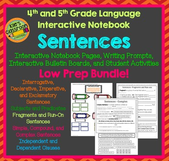 Sentences Interactive Notebook For 4th And 5th Grade Language TpT