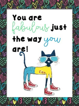 set of 10 pete the cat friends classroom posters