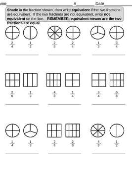Shading Equivalent Fractions By Lcslionteacher