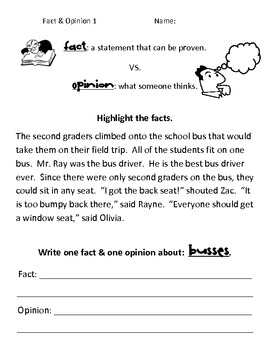 Simple Fact Vs Opinion Worksheets By Kelly Macdonell