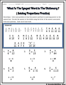 Solving Proportions Practice Riddle Worksheet By Secondary