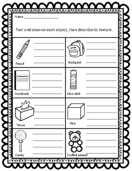 Sort By Property Texture Ccss Aligned Worksheets By