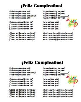 Spanish Happy Birthday Song 3 Verses Feliz Cumpleanos By Sue Summers