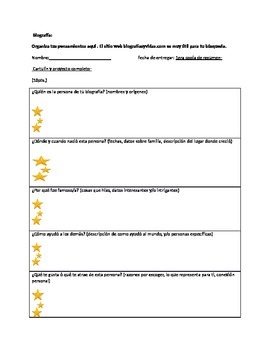 Spanish Biography Worksheet Organizer By Pylaar Solomon