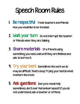 Speech Therapy Room Rules by Christy Heil | Teachers Pay ...