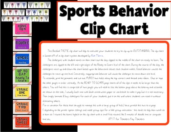 Sports Theme Baseball Behavior Clip Chart By HM T TpT