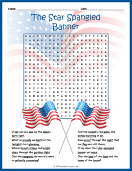 Star Spangled Banner Word Search Puzzle By Puzzles To