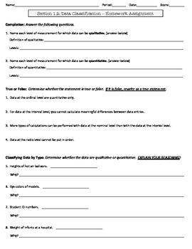 Statistics Homework Worksheet