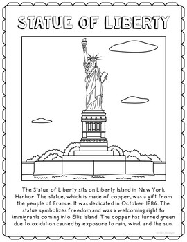 Statue Of Liberty Informational Text Coloring Page Craft Or Poster New York