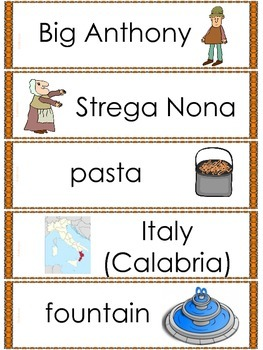 Strega Nona Vocabulary By Shirley Anderson